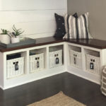 PAINTED BENCH CUBBY / STAINED WOOD TOP
